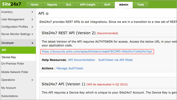 Site24x7 API Key