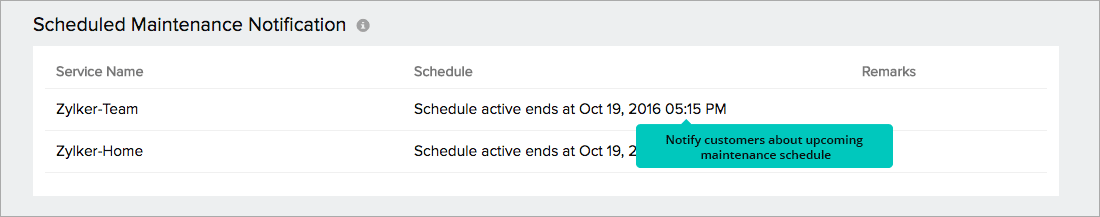 Schedule Maintenanace Notification