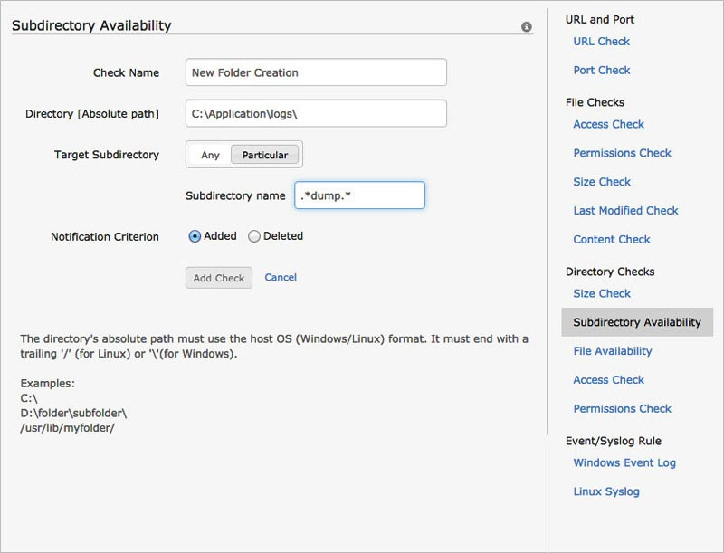 Subdirectory Availability Configuration